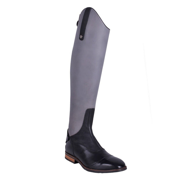 QHP Shiva Riding Boots Grey & Black Front Outside