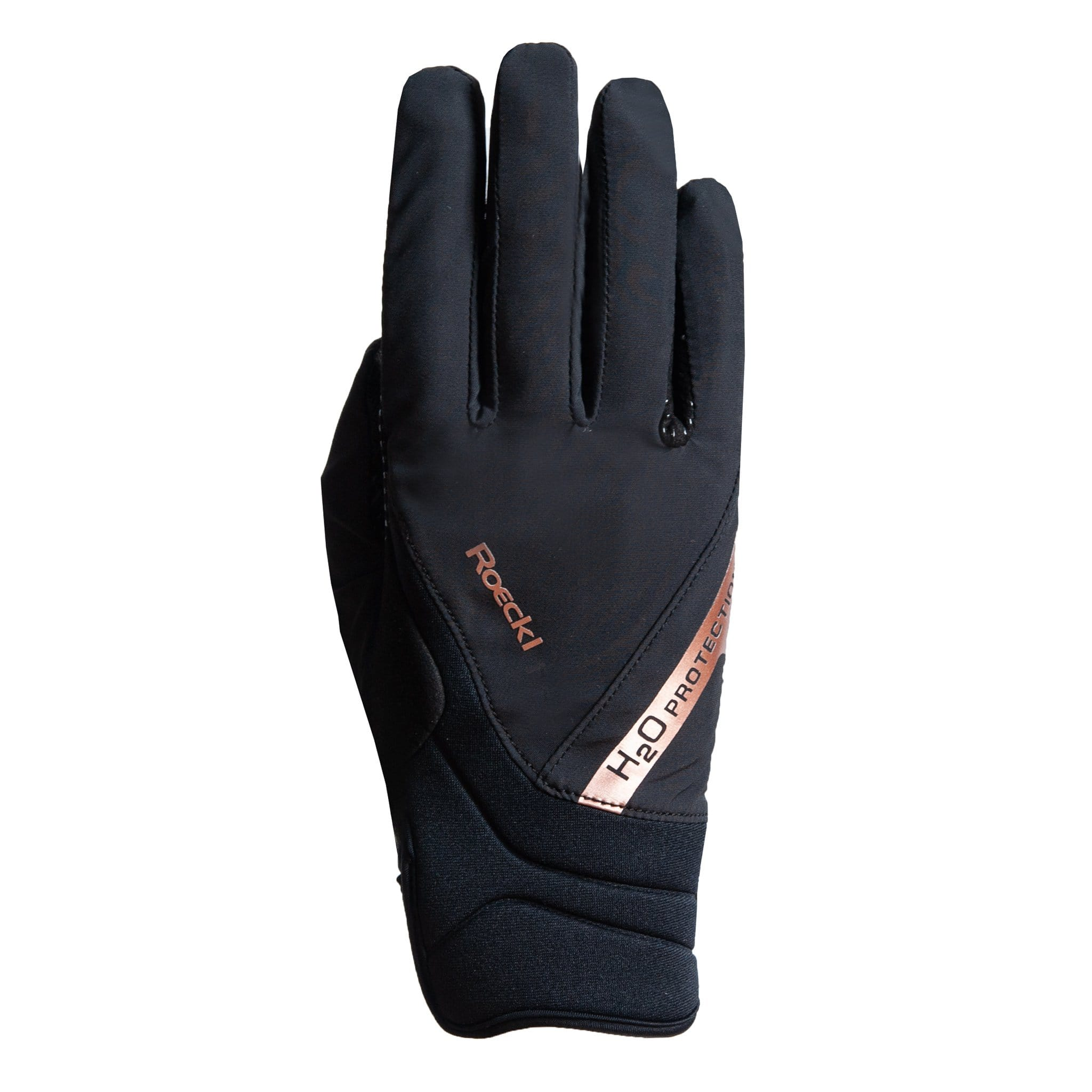 Roeckl Warendorf Waterproof Gloves 3301-583 Black and Copper Rose Gold Back