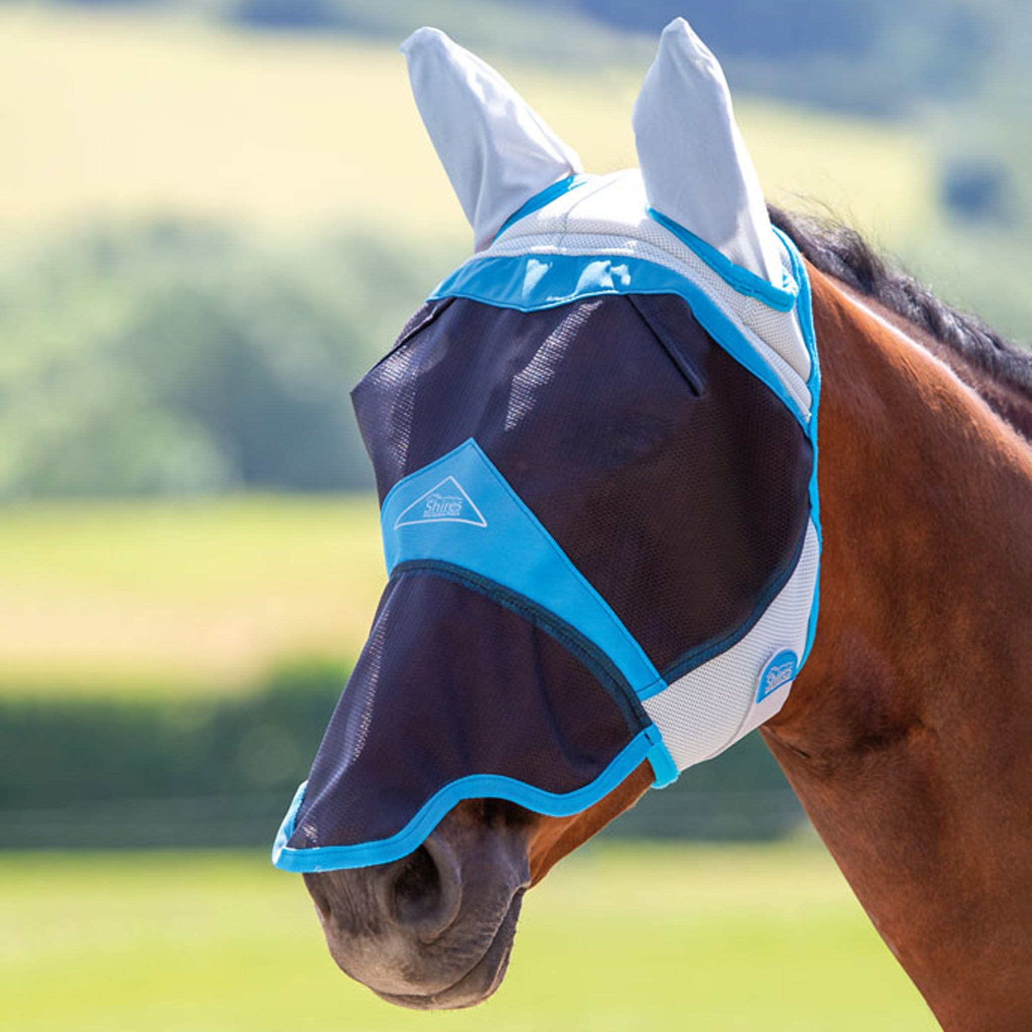Shires Air Motion Fly Mask With Ears and Nose 6678 Blue On Horse