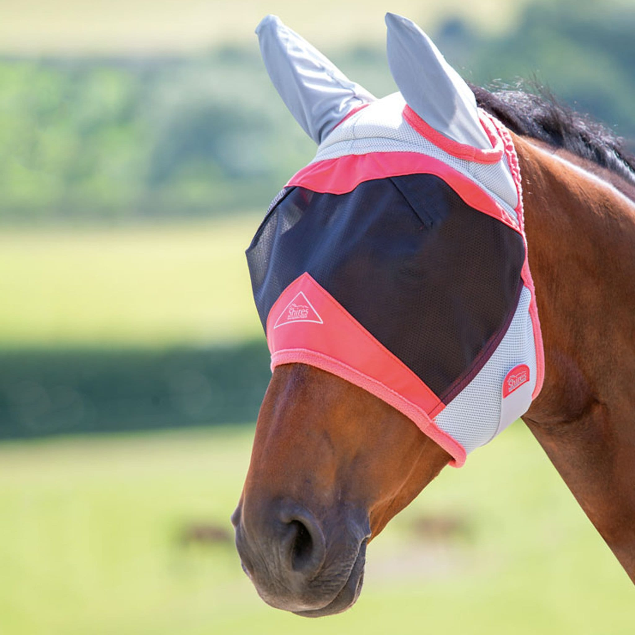 Shires Air Motion Fly Mask With Ears 6676 Coral On Horse