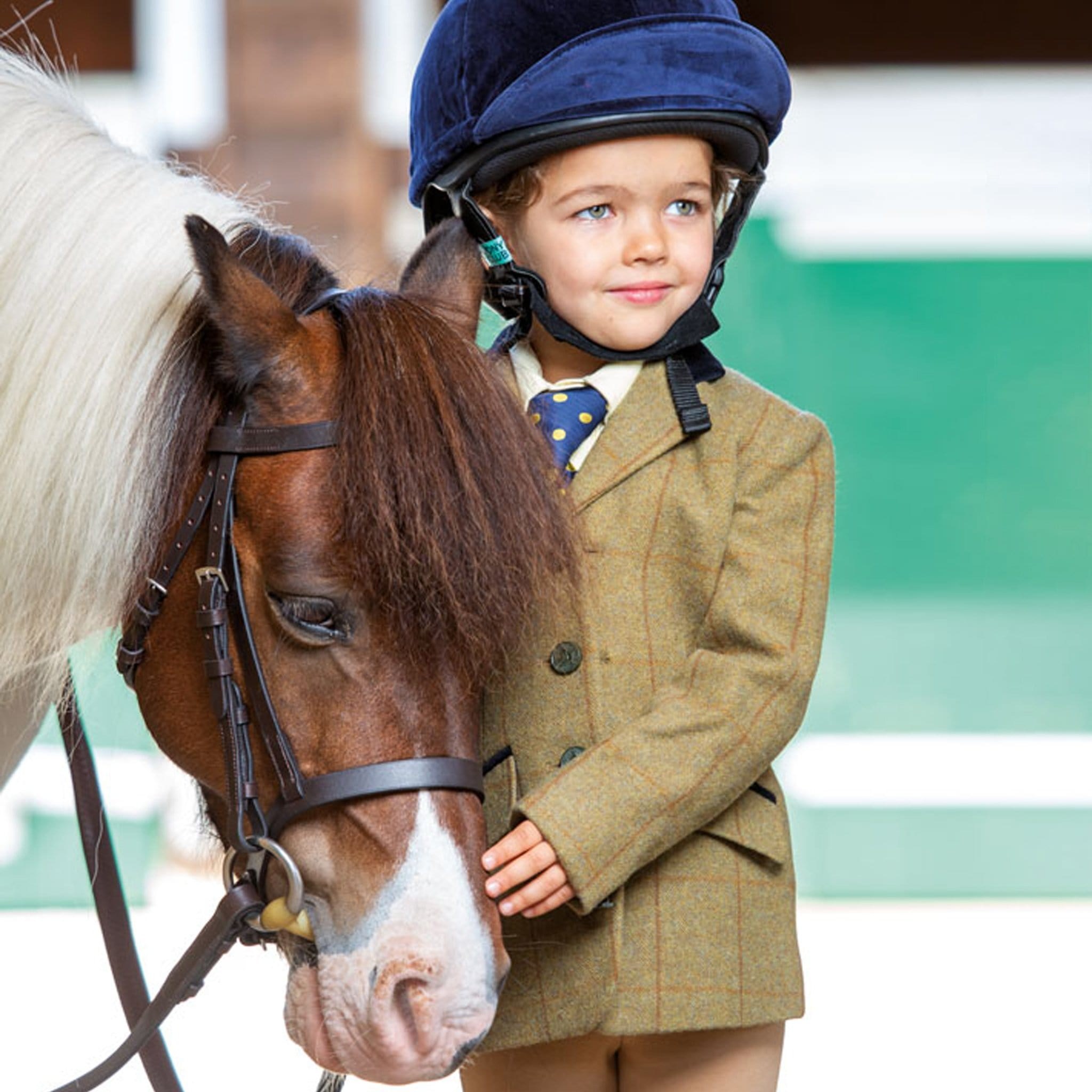 Shires Aubrion Children's Saratoga Jacket 9786 Copper Check On Child With Pony