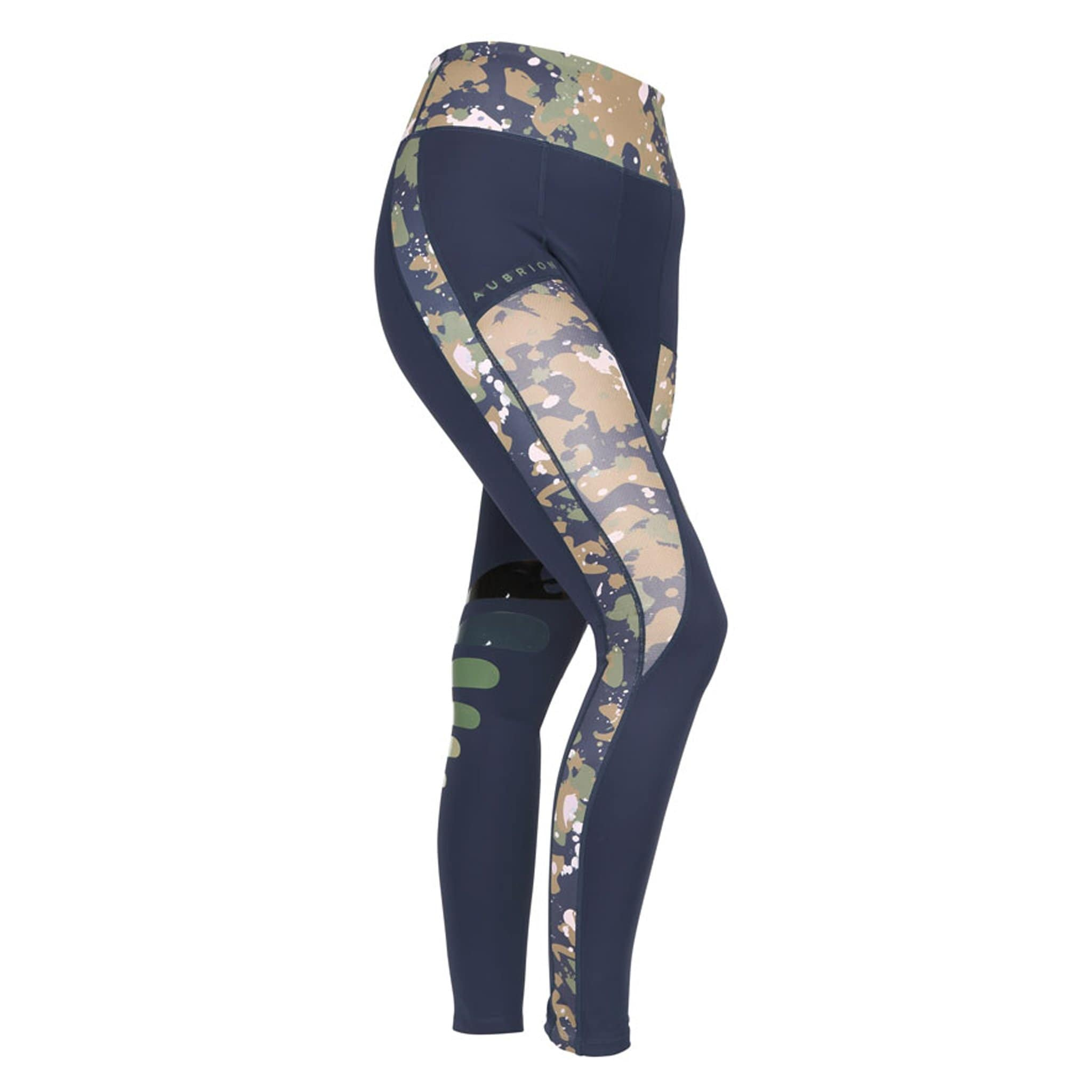 Shires Aubrion Kingsbury Silicone Knee Patch Riding Tights 8171 Navy and Camo Front