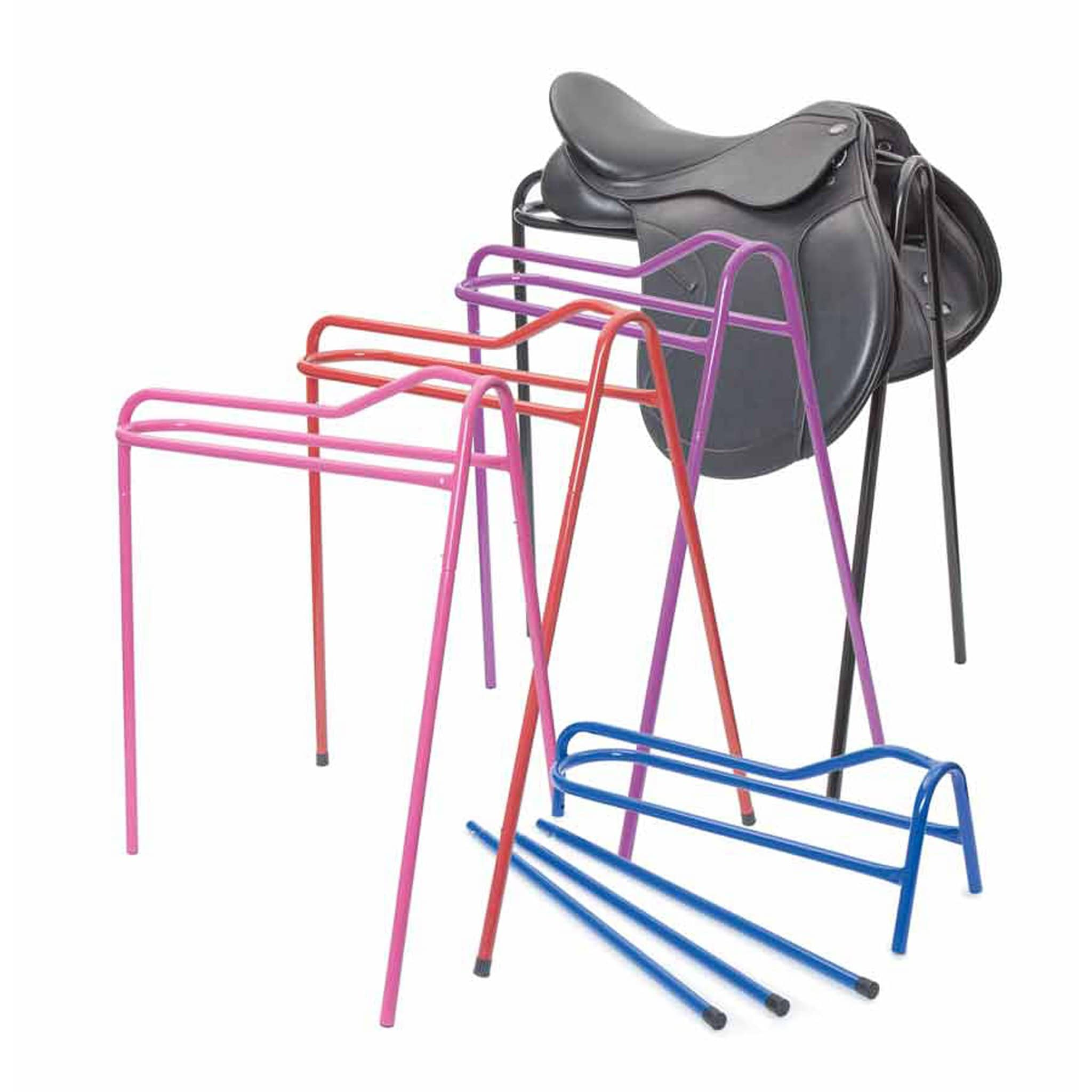 Shires Collapsible Saddle Stand 978c in Black With Saddle, In Red, Purple and Pink, and in Blue With Legs Removed