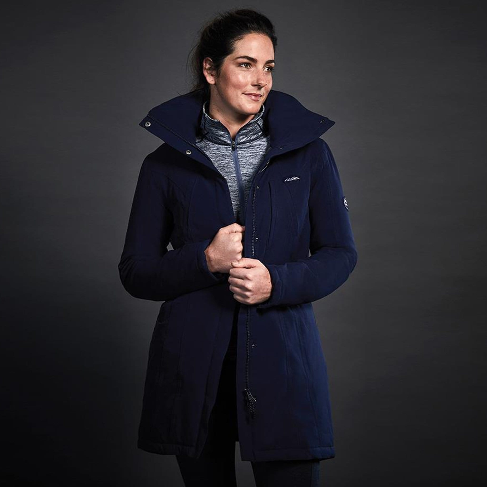 Weatherbeeta Kyla Technical Waterproof Jacket Front Navy On Model 1000586001.