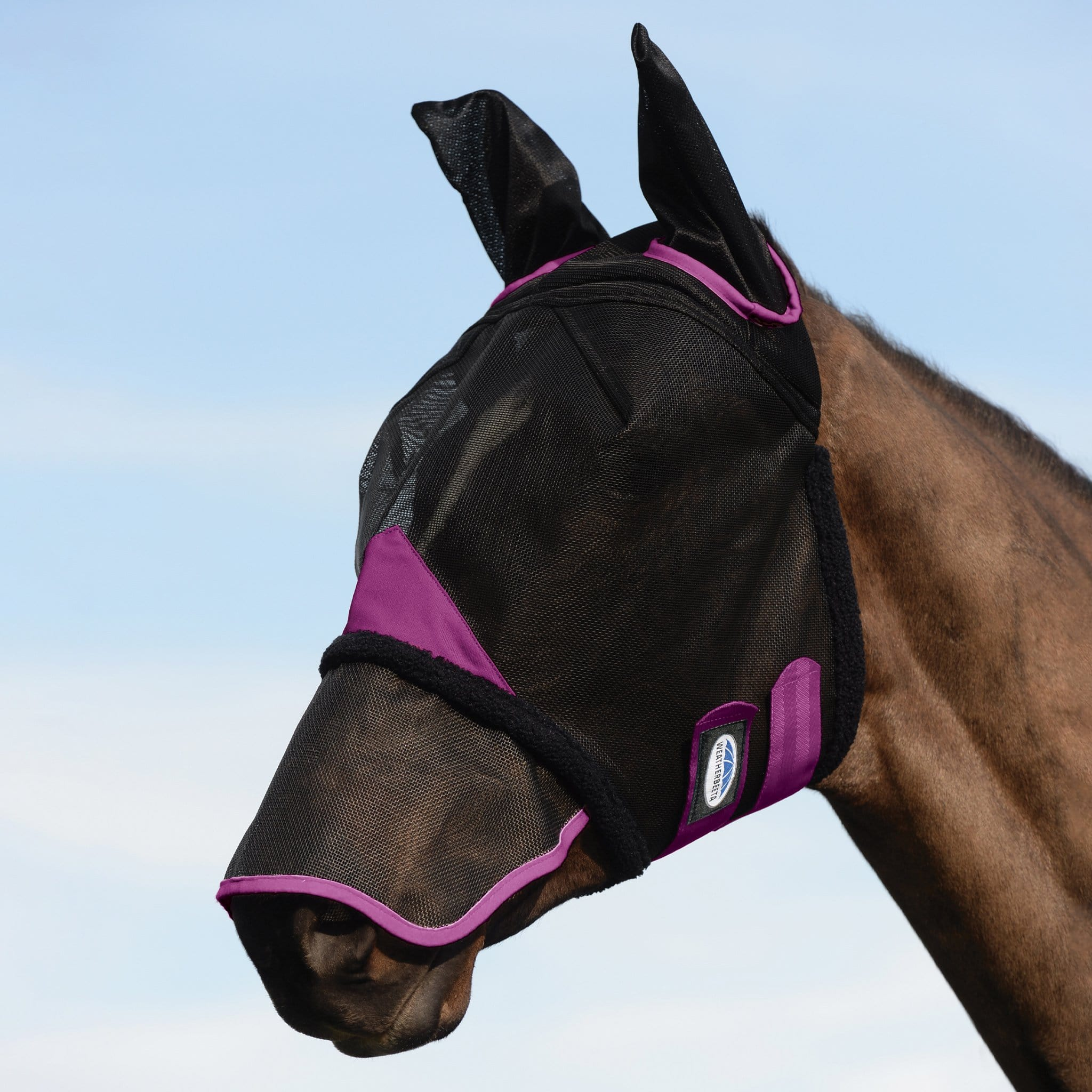 Weatherbeeta Durable Mesh Fly Mask With Ears and Nose 1003149001 Black and Purple