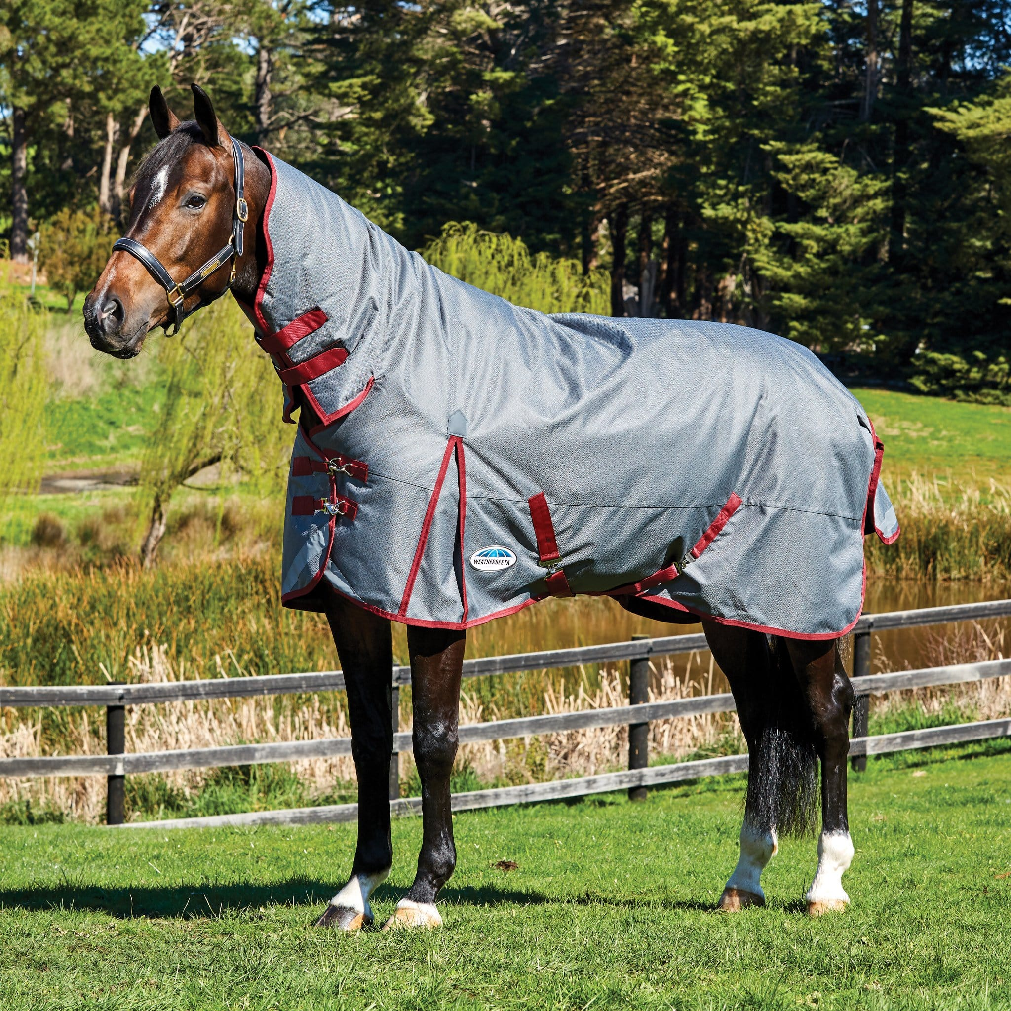 Weatherbeeta ComFiTec Plus Dynamic Heavyweight 360g Combo Neck Turnout Rug Grey Burgundy 801164