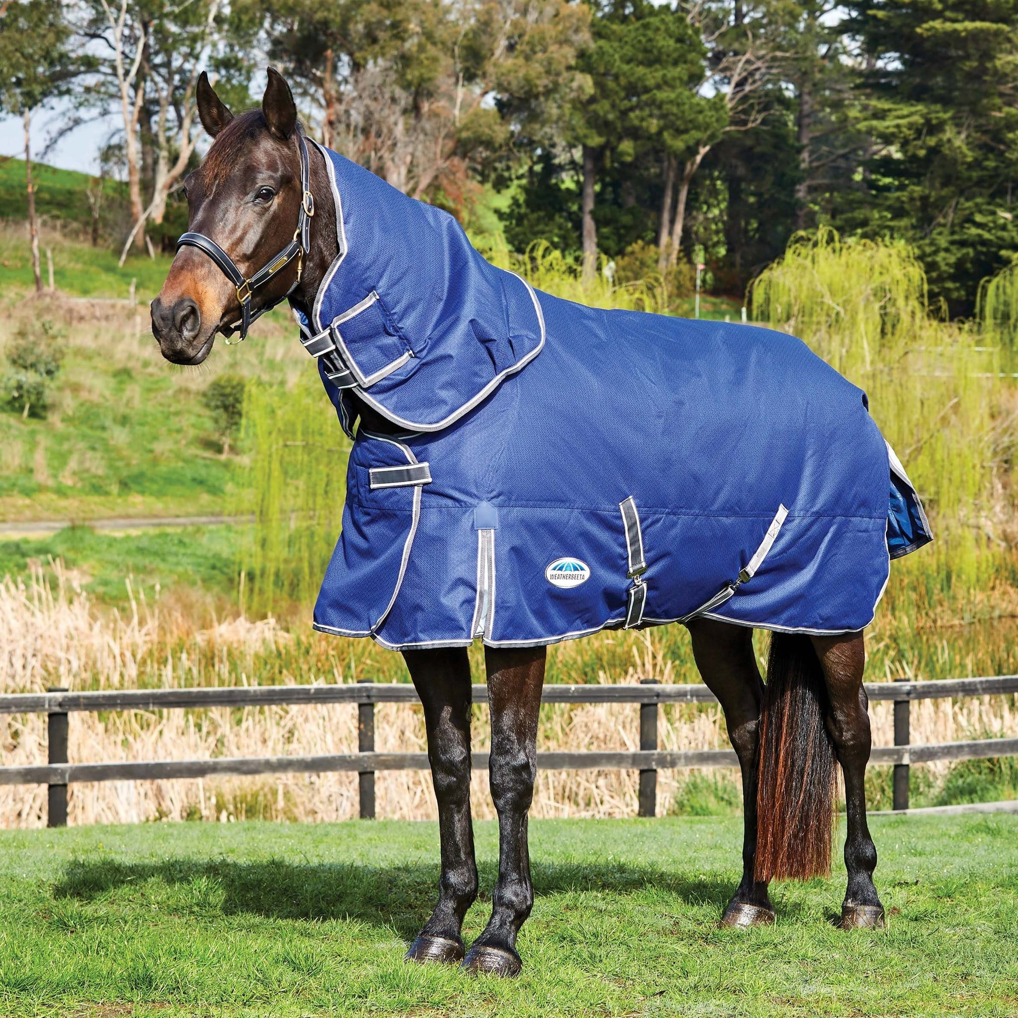 Weatherbeeta ComFiTec Premier Free II Heavyweight 360g Detachable Neck Turnout Rug Blue 1003671003