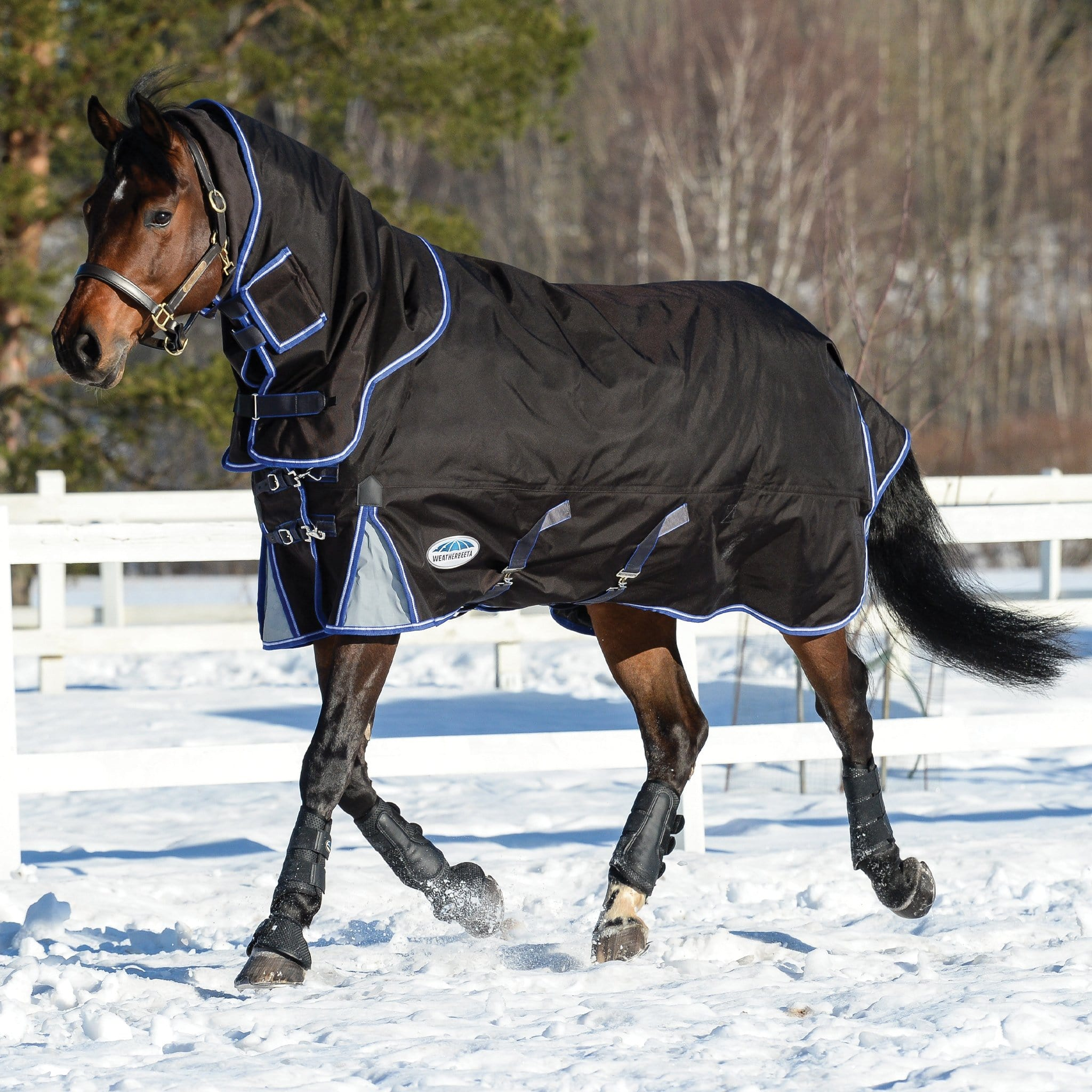 Weatherbeeta ComFiTec Ultra Cozi II Mediumweight 220g Detachable Neck Turnout Rug Black White Blue 1003664001