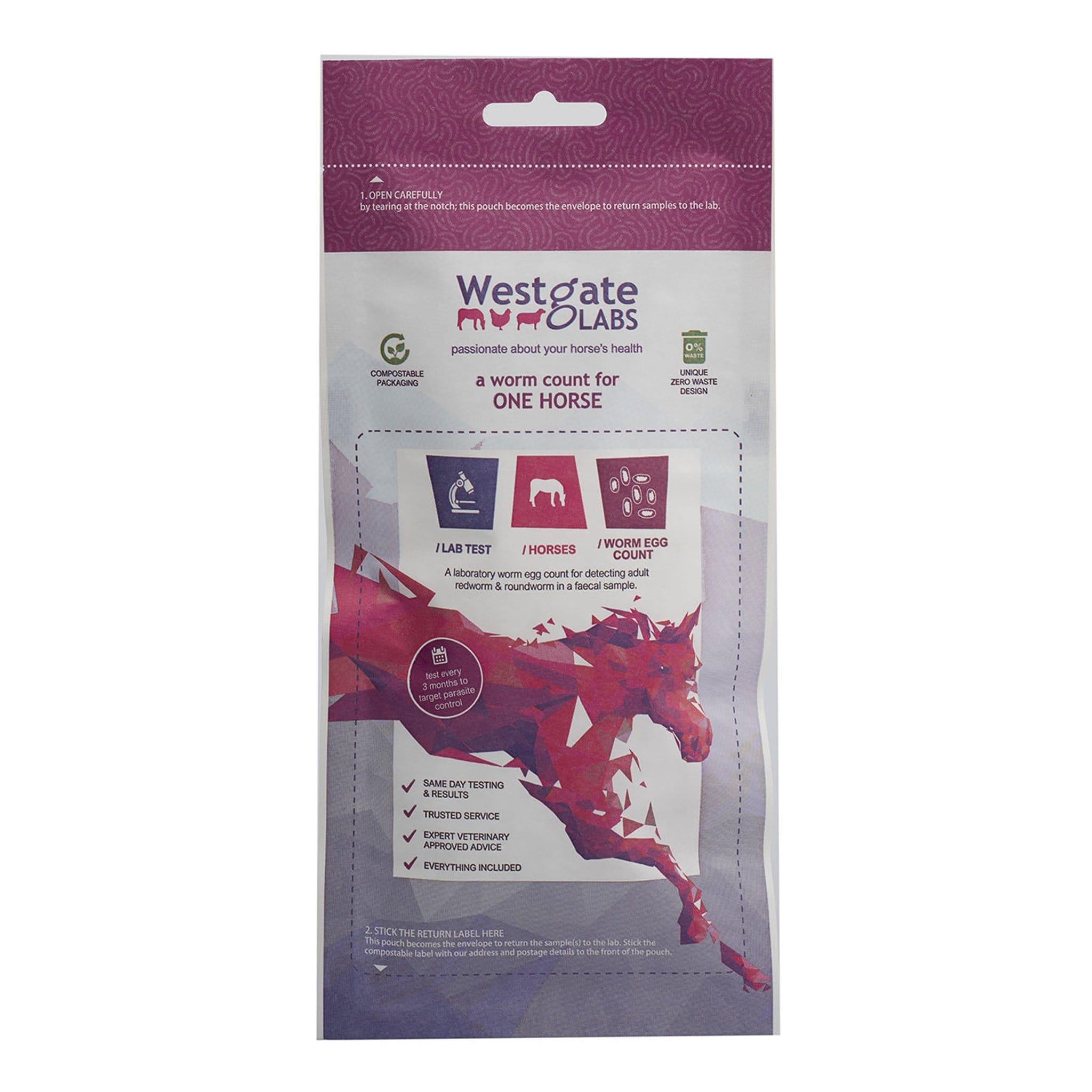 Westgate Laboratories Test Your Horse For Worms Kit 1 Horse Pack Kit WGL0005