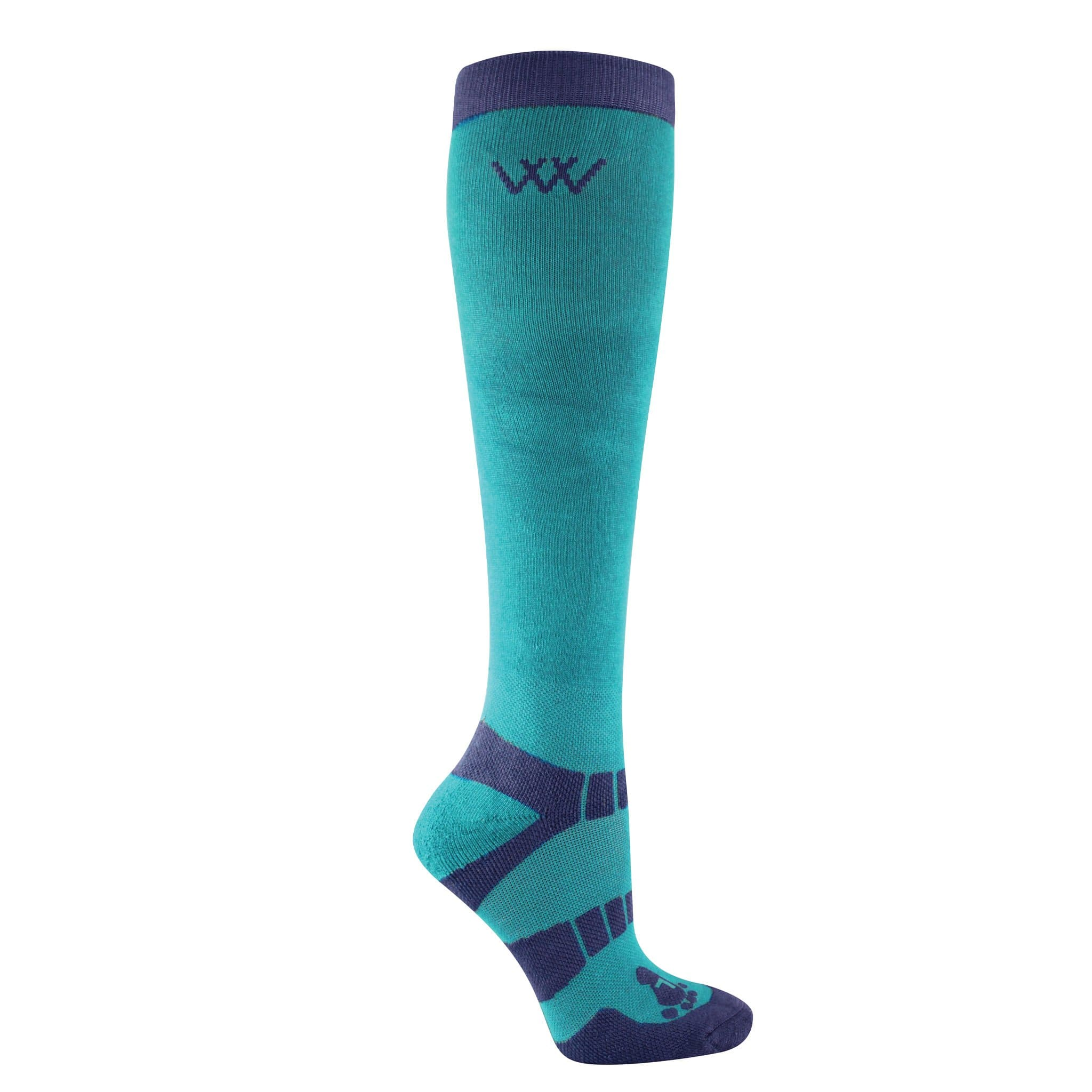 Woof Wear Waffle Knit Bamboo Long Riding Socks 2 Pack Ocean and Navy WW0017