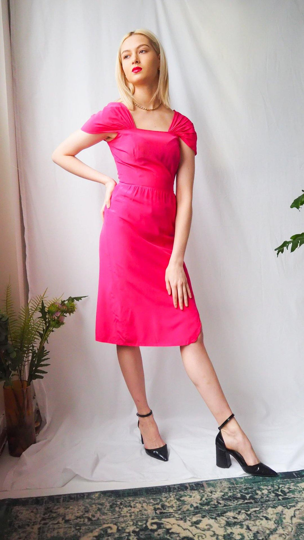 Vintage 1980's pink square neck midi dress