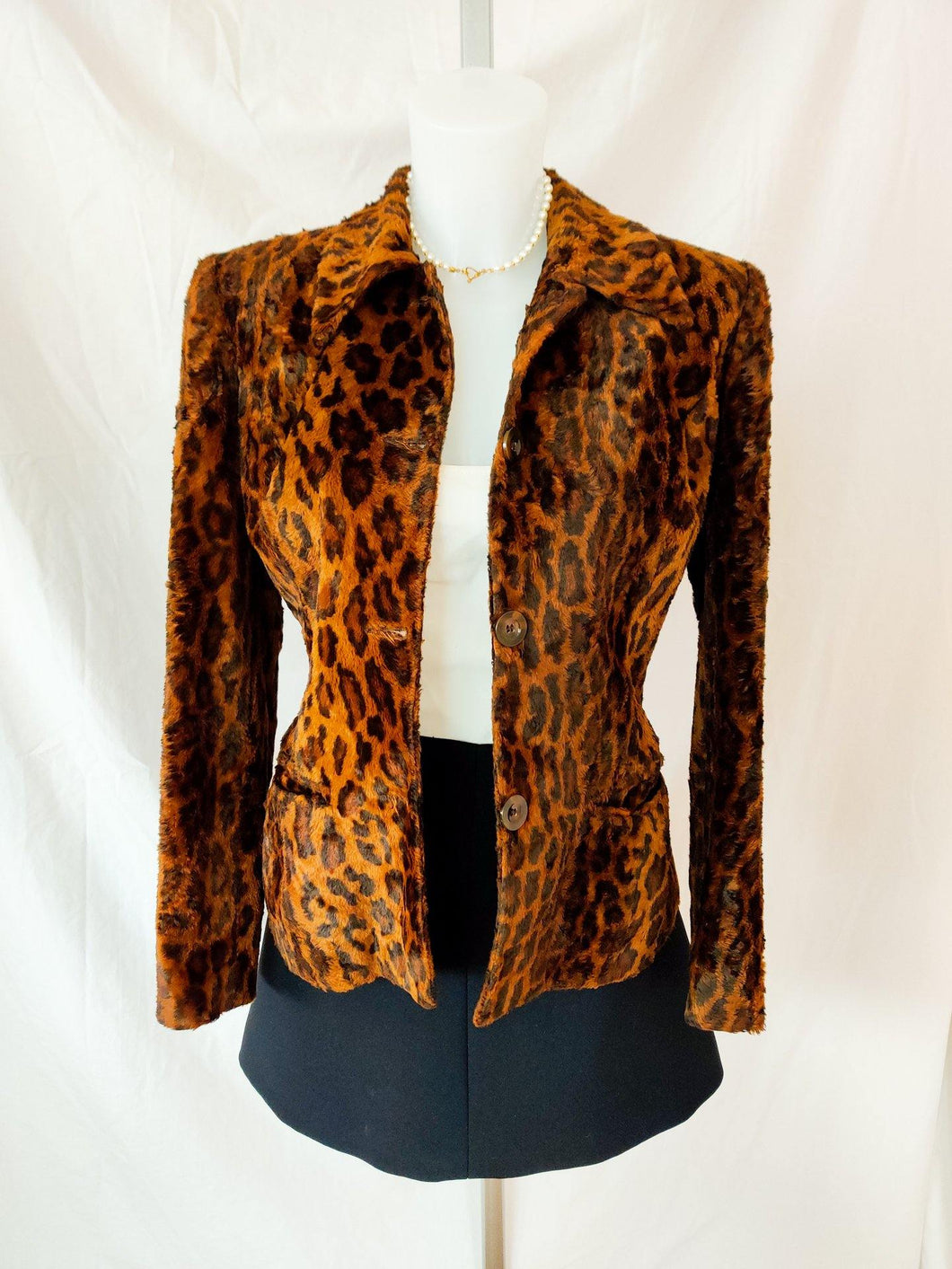 Vintage leopard print button up coat