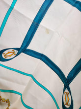 Load image into Gallery viewer, Vintage Cartier silk turquoise and white scarf