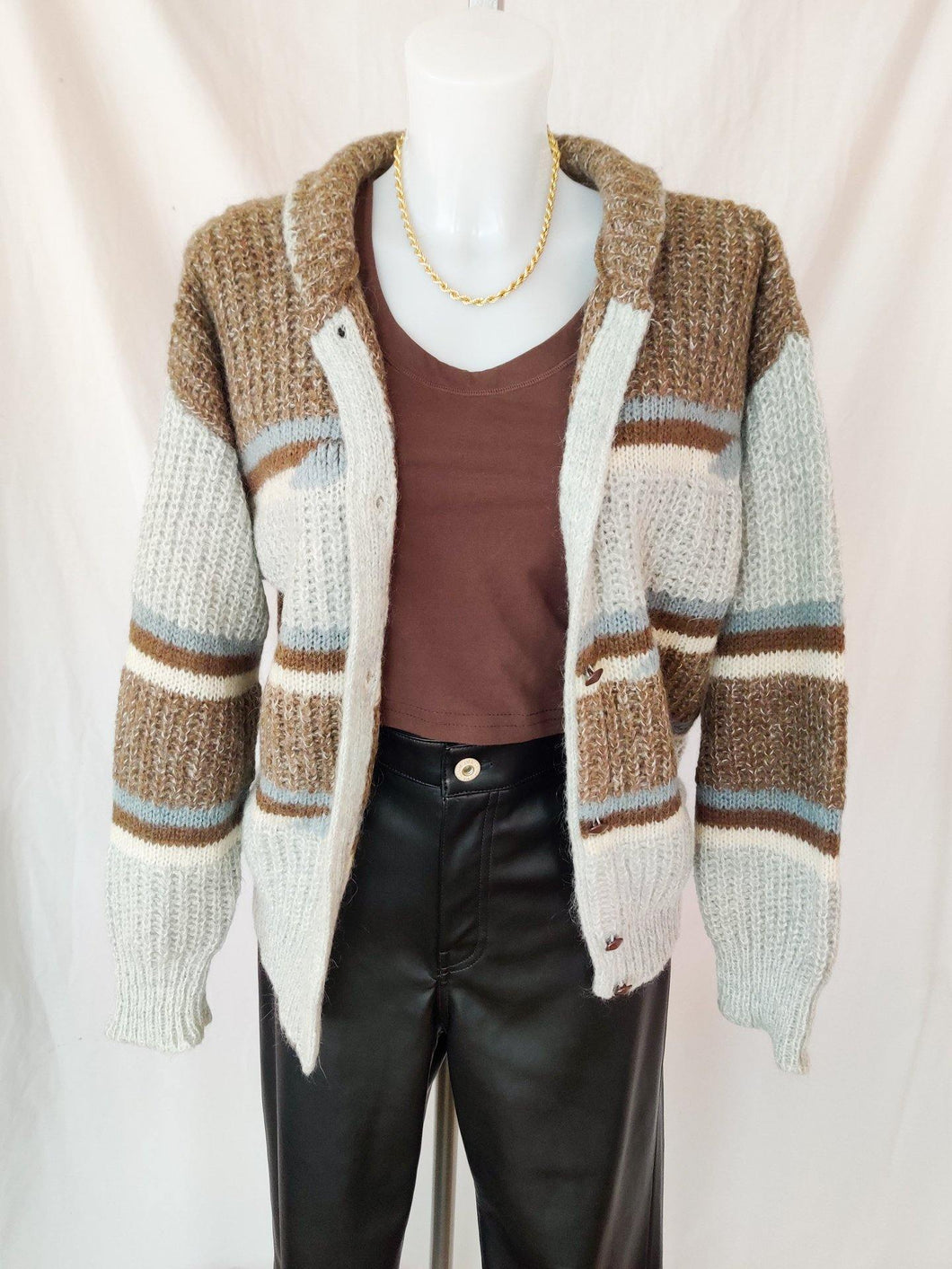 Vintage brown and baby blue button up cardigan