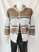 Load image into Gallery viewer, Vintage brown and baby blue button up cardigan