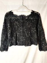 Load image into Gallery viewer, Vintage black lace crop blouse