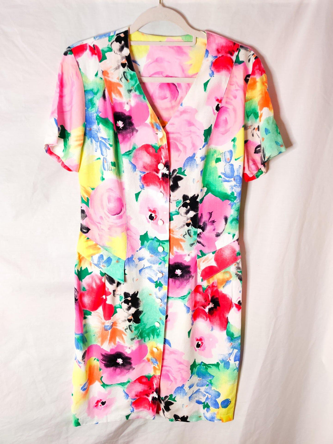 Vintage colourful floral button up midi dress