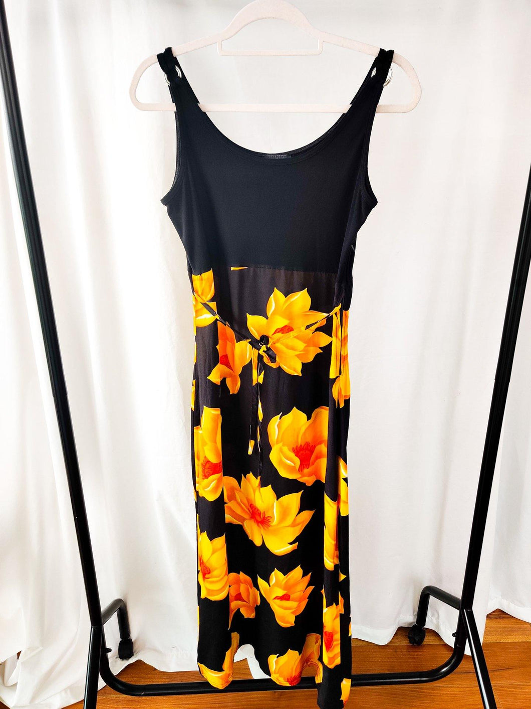 Vintage black floral midi dress (Size S)