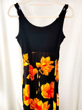 Load image into Gallery viewer, Vintage black floral midi dress (Size S)
