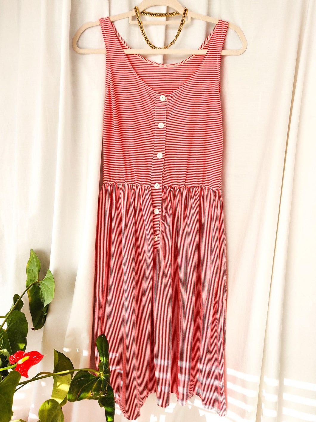 Vintage red and white stripe smock midi dress (Size 8-10)