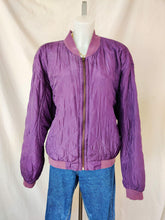 Load image into Gallery viewer, Vintage purple quilted zip up bomber jacket