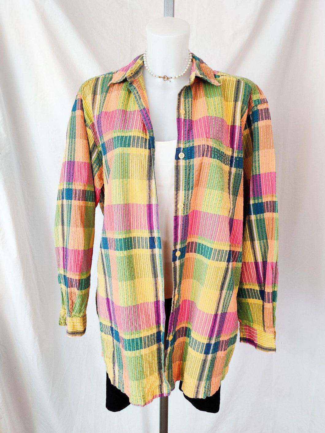 Vintage colourful patterned button up shirt