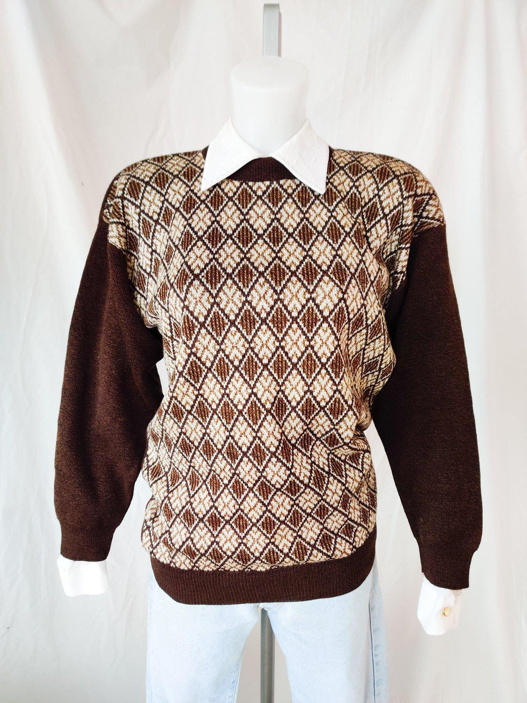 Vintage brown patterned knit jumper