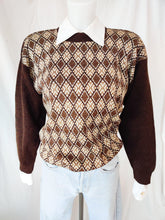 Load image into Gallery viewer, Vintage brown patterned knit jumper
