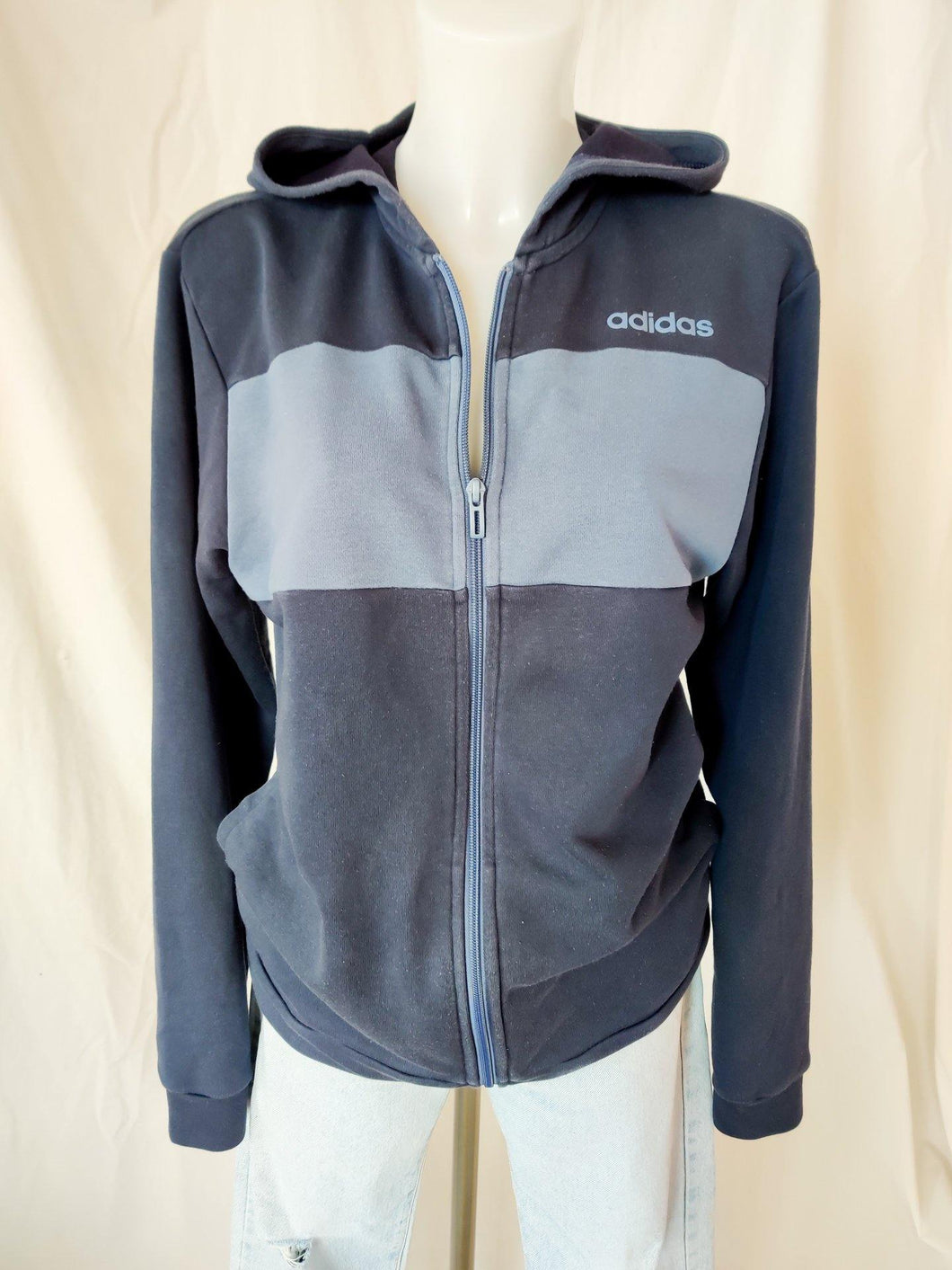 Vintage Adidas navy and blue zip up hoodie