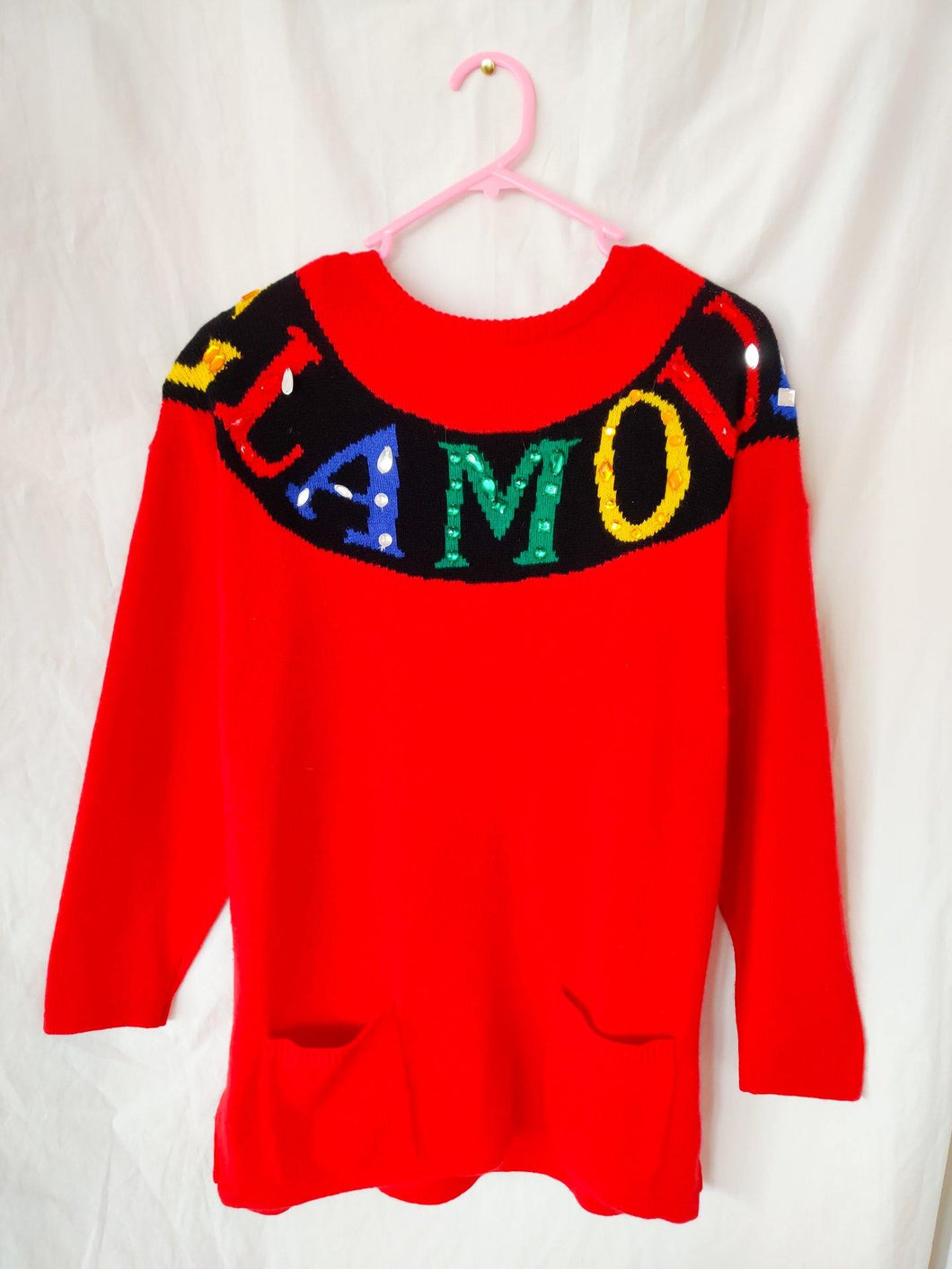 Vintage red glamour spell out knit jumper
