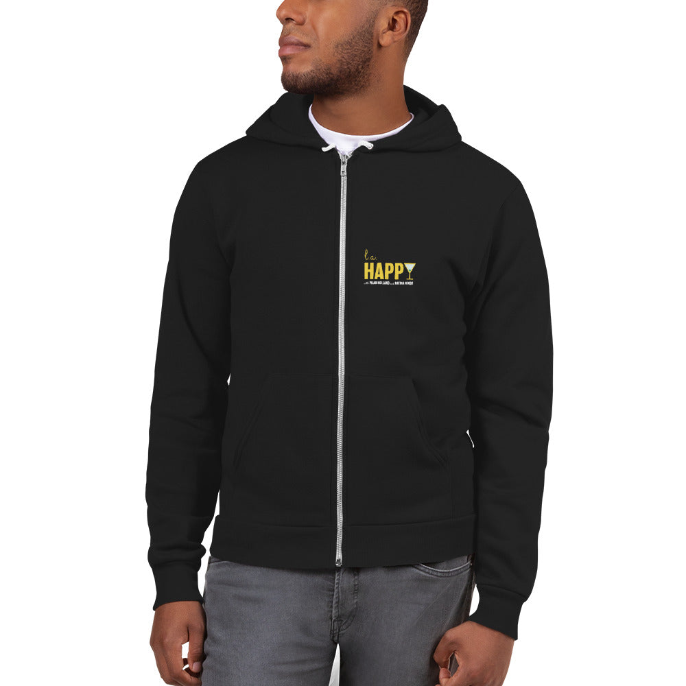 L.A. Happy Show Hoodie Zip Up in Black