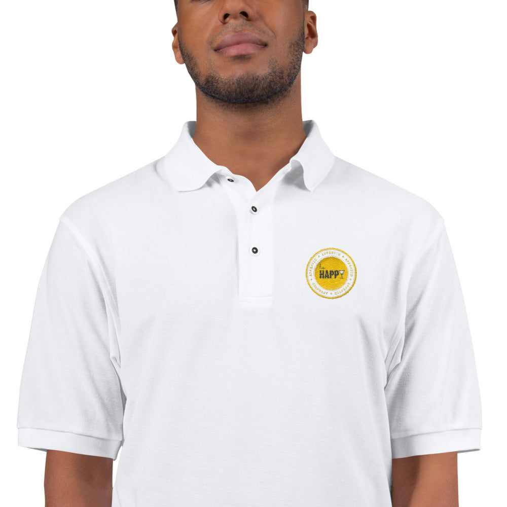 L.A. Happy Men's Embroidered Polo Shirt in White