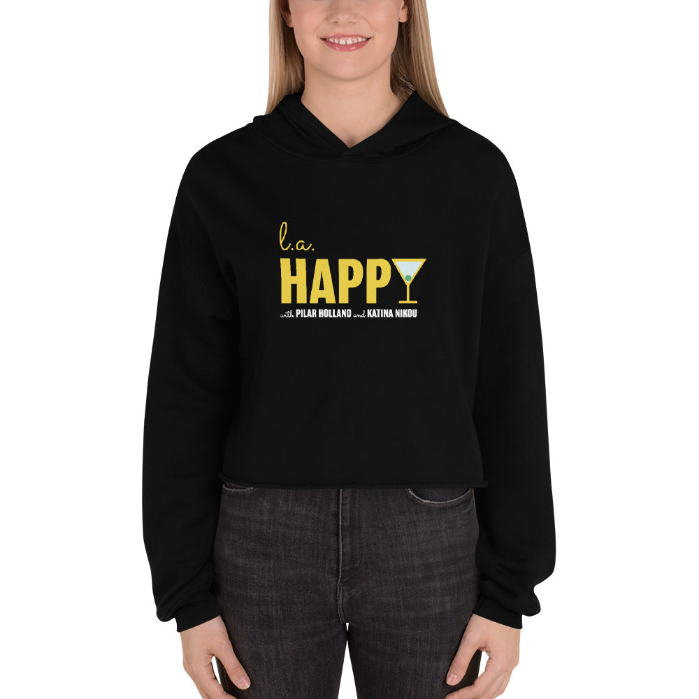 L.A. Happy Show Crop Hoodie in Black