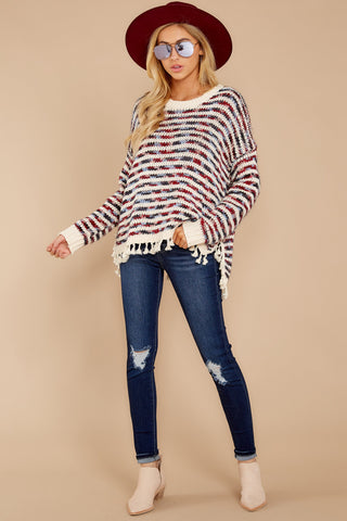 Yours Truly Ivory Multi Stripe Sweater