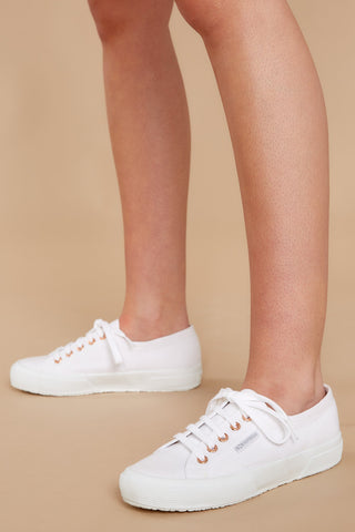 2750 Cotu White And Rose Gold Classic Sneakers