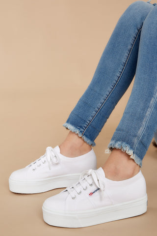 2790 Acot White And Silver Platform Sneakers