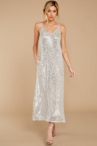 You'd Be Surprised Champagne Sequin Maxi Dress