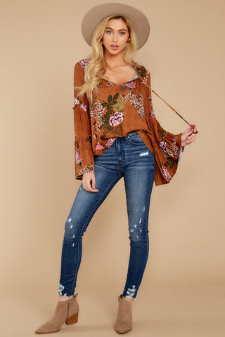 Young And Free Brown Floral Print Top