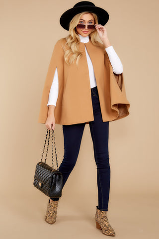 You Know Her Camel Cape Coat