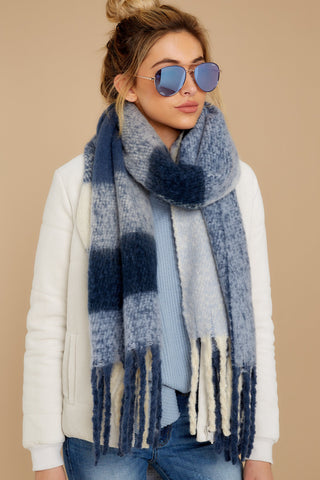 Wrapped In Warmth Navy Multi Scarf