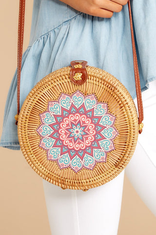 A Little Charmed Blue Printed Tan Round Bag