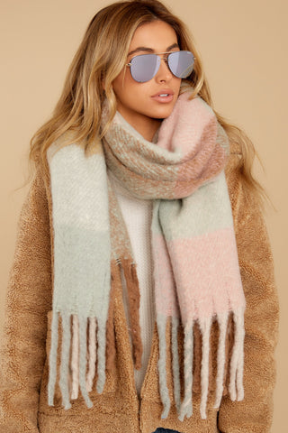 Wrapped In Warmth Beige Multi Scarf