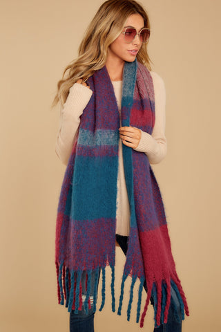 Wrapped In Warmth Burgundy Multi Scarf
