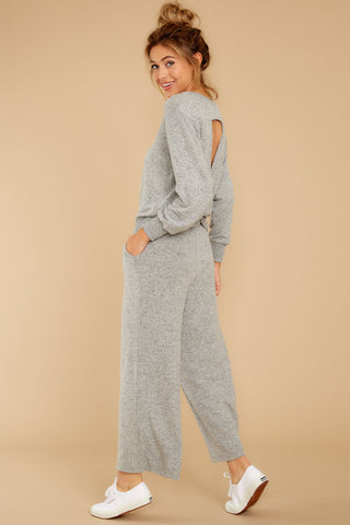 The Heather Grey Marled Twist Back Sweater