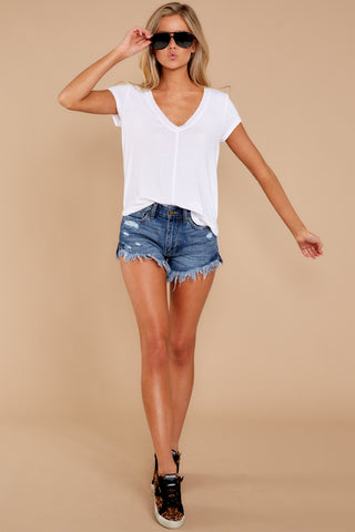 Mya V Neck Tee In White