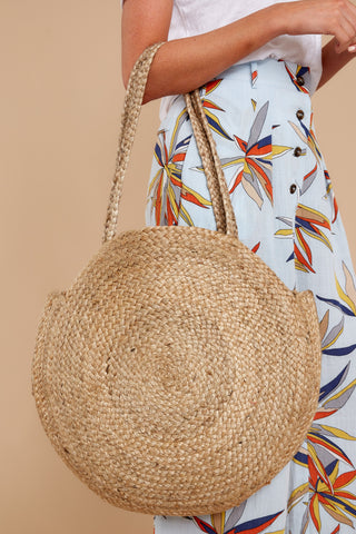 Take Me Around Natural Tan Round Bag