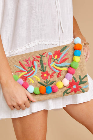 Exotic Escape Embroidered Clutch