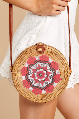 A Little Charmed Red Printed Round Bag