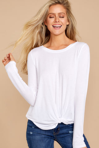 Premium Sleek Jersey Twist Front Long Sleeve Tee In White