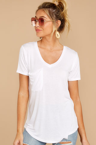 Premium Sleek Jersey Pocket Tee In White